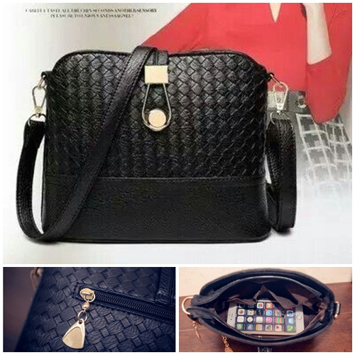 B016 Tas Import IDR.132.000 MATERIAL PU SIZE L23XH19XW9CM WEIGHT 400GR COLOR BLACK