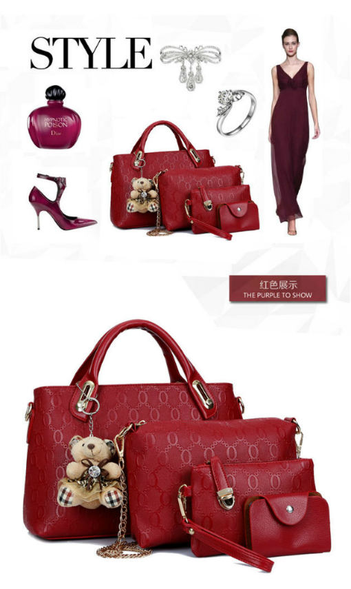 B066-(4in1) IDR.205.000 MATERIAL PU SIZE BIG-L32XH23CM,MEDIUM-L28XH18CM WEIGHT 1200GR COLOR RED