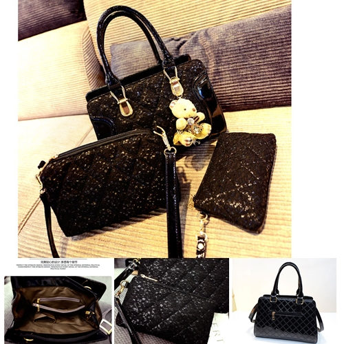 B1041-(3in1) IDR.190.000 TAS FASHION MATERIAL PU+SEQUIN SIZE BIG-L33XH23XW11CM WEIGHT 1000GR COLOR BLACK