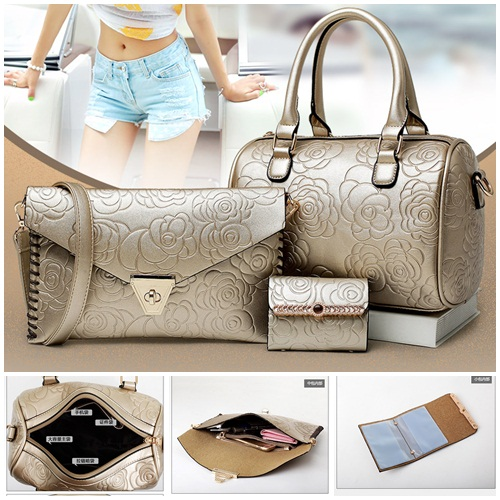 B1564-(3in1) IDR.198.000 MATERIAL PU SIZE BIG-L28XH18XW16CM,MEDIUM-L28XH16CM WEIGHT 1100GR COLOR GOLD