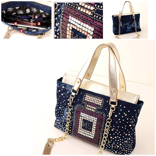 B174 IDR.215.000 MATERIAL DENIM SIZE L32XH22XW13CM WEIGHT 800GR COLOR GOLD