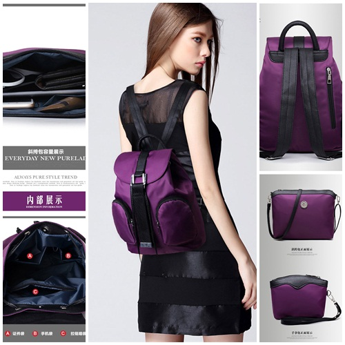 B1861-(3in1) IDR.180.000 MATERIAL CANVAS SIZE L28XH31XW17CM WEIGHT 800GR COLOR PURPLE