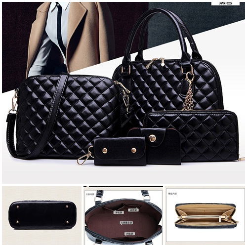 B1878-(5in1) IDR.215.000 TAS FASHION MATERIAL PU SIZE L32XH22XW13CM WEIGHT 1600GR COLOR BLACK