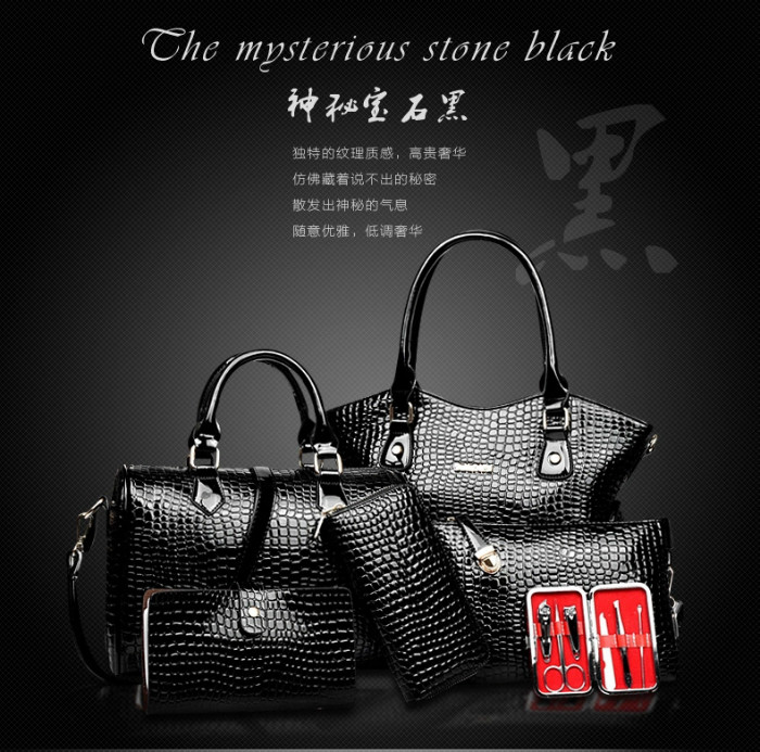 B2022(6IN1,WITH MANICURE KIT) IDR.295.000 MATERIAL PU SIZE BIG L34XH28 MEDIUM L28XH21CM WEIGHT 1700GR COLOR BLACK