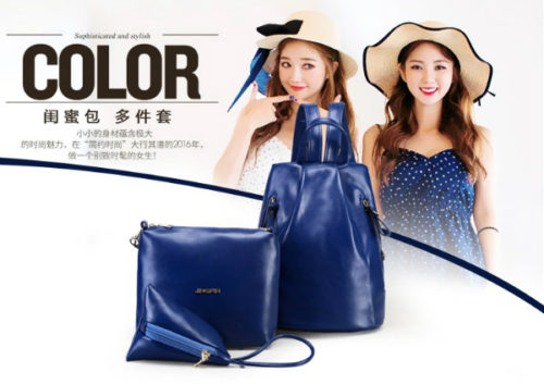 B2254-(3in1) IDR.166.000 MATERIAL PU SIZE L27XH31XW15CM WEIGHT 700GR COLOR BLUE