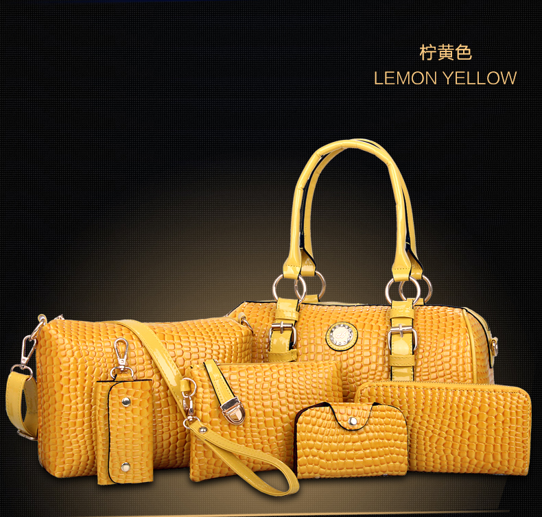 B3680-(6in1) IDR.240.000 TAS FASHION MATERIAL PU SIZE BIG-L34XH20XW17CM WEIGHT 1400GR COLOR YELLOW