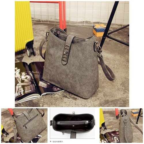B594 IDR.186.000 TAS FASHION MATERIAL PU SIZE L27XH25XW13CM WEIGHT 750GR COLOR GRAY