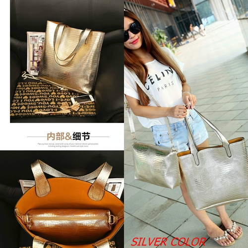 B684-(2in1) IDR.172.000 MATERIAL PU SIZE L35XH36XW10CM WEIGHT 850GR COLOR SILVER