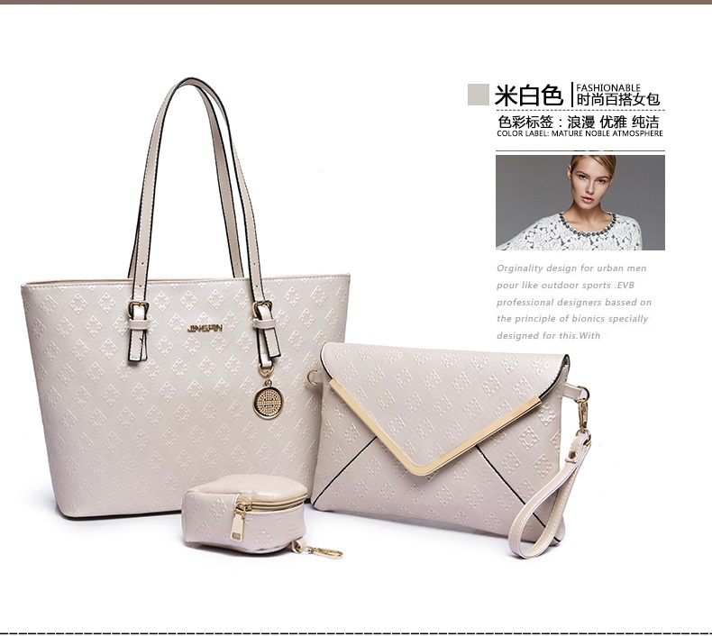 B7776-(3in1) IDR.215.000 TAS FASHION MATERIAL PU SIZE L33XH26XW15CM WEIGHT 1100GR COLOR BEIGE