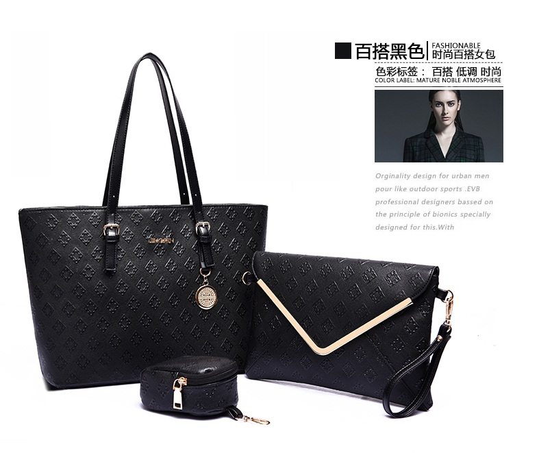 B7776-(3in1) IDR.215.000 TAS FASHION MATERIAL PU SIZE L33XH26XW15CM WEIGHT 1100GR COLOR BLACK