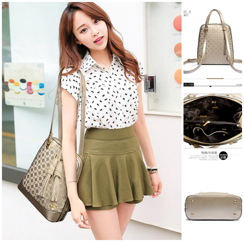 B8894 IDR.225.000 MATERIAL PU SIZE L27XH31XW12CM WEIGHT 850GR COLOR GOLD