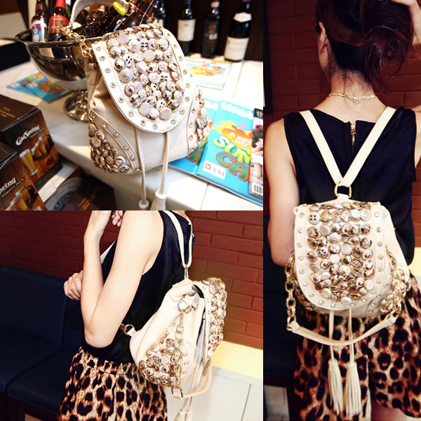 B9067 IDR.184.000 MATERIAL PU SIZE L29XH21CM WEIGHT 750GR COLOR BEIGE (RANSEL & SELEMPANG)