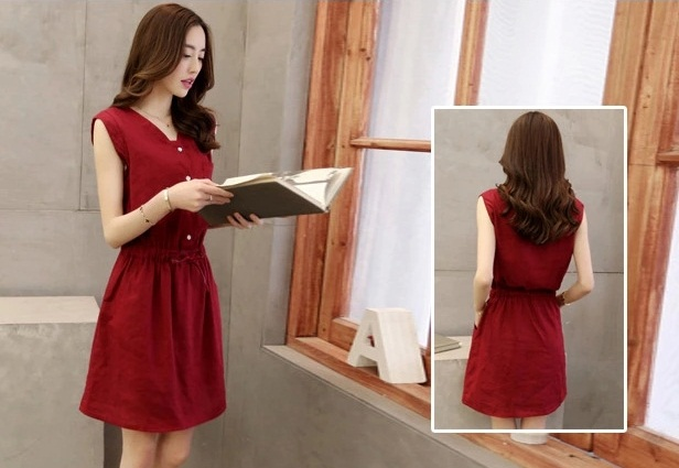 D1522 IDR.120.000 MATERIAL COTTON SIZE M-LENGTH84CM-BUST88CM WEIGHT 250GR COLOR RED