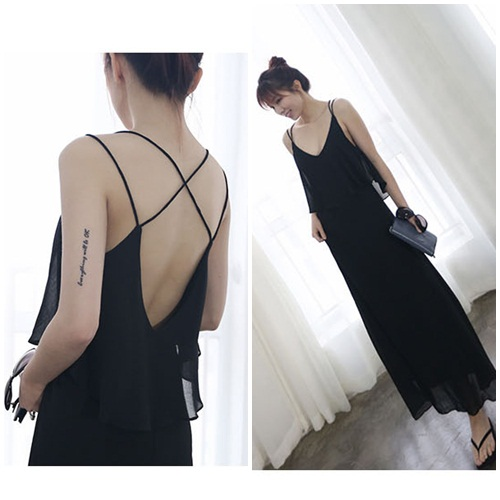 D38787 IDR.128.000 MATERIAL CHIFFON LENGTH120CM BUST77-88CM WEIGHT 300GR COLOR BLACK