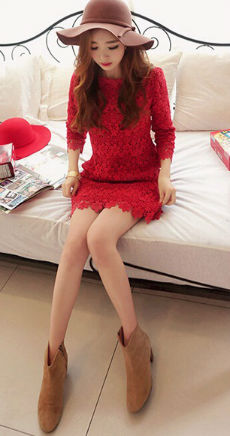 D48309 IDR.168.000 MATERIAL LACE-SIZE-M,L-LENGTH81CM,82CM-BUST86CM,90CM WEIGHT 300GR COLOR RED
