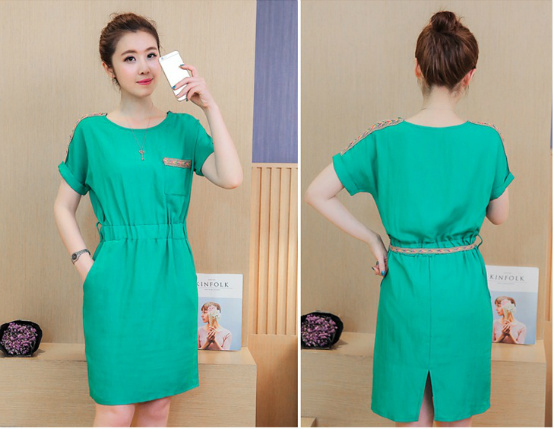 D55235 IDR.132.000 MATERIAL HEMP-COTTON-SIZE-M,L-LENGTH92CM,93CM-BUST90CM,94CM-WITHBELT WEIGHT 250GR COLOR GREEN