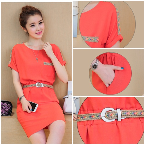 D55235 IDR.132.000 MATERIAL HEMP-COTTON-SIZE-M,L-LENGTH92CM,93CM-BUST90CM,94CM-WITHBELT WEIGHT 250GR COLOR ORANGE