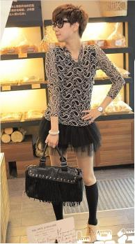 D5708 IDR.93.OOO MATERIAL GAUZE+LACE-ELNGTH-72CM,BUST-80-90CM,SHOULDER-39CM,SLEEVE-60CM WEIGHT 240GR COLOR COFFEE