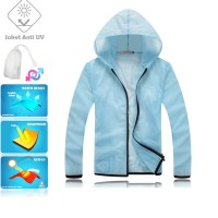 JUV004 IDR 125.000 JAKET UNISEX BAHAN POLYESER ANTI UV SIZE M, L, XL, XXL WEIGHT 100GR COLOR LIGHT BLUE - Jaket Fashion