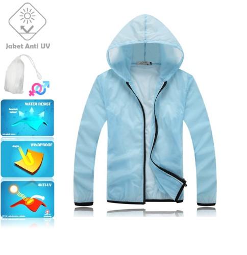 JUV004 IDR 125.000 JAKET UNISEX BAHAN POLYESER ANTI UV SIZE M, L, XL, XXL WEIGHT 100GR COLOR LIGHT BLUE - Jaket Fashion