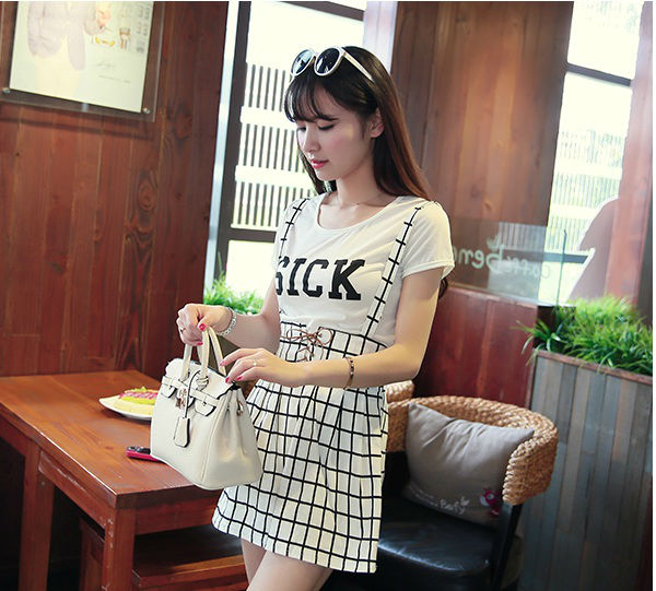 LS8593(1SET) IDR.120.000 MATERIAL COTTON TOP 32CM SKIRT 47CM WAIST 78CM WEIGHT 300GR COLOR GRID