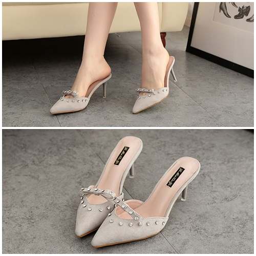 SH1980 IDR.215.000 MATERIAL SUEDE-HEEL-8.5CM COLOR GRAY SIZE 36,37,38,39