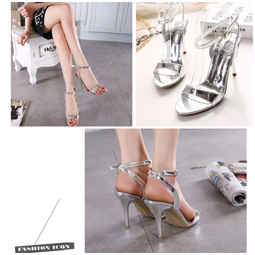 SH2158 IDR.205.000 MATERIAL PU-HEEL-10CM COLOR SILVER SIZE 35,36,37,38,39