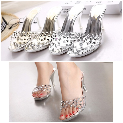 SH22311 IDR.212.000 MATERIAL PU-HEEL-7.5CM COLOR SILVER SIZE 36,37,38,39