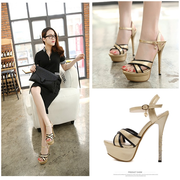 SH3335 IDR.214.000 MATERIAL PU HEEL 14CM COLOR GOLD SIZE 36,37,38,39