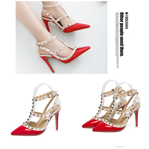 SH37011 IDR.255.000 MATERIAL PU-HEEL-10CM COLOR RED SIZE 35,36,37,38,39