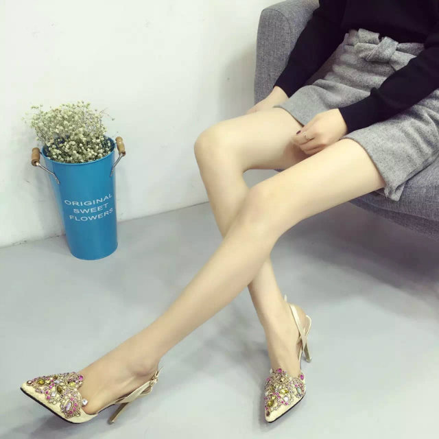 SH51832 IDR.250.000 MATERIAL LACE-HEEL-9CM COLOR APRICOT SIZE 36,37,38,39