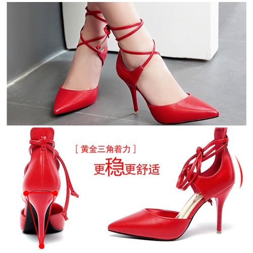 SH5203 IDR.235.000 MATERIAL PU-HEEL-9CM COLOR RED SIZE 36,37,38,39