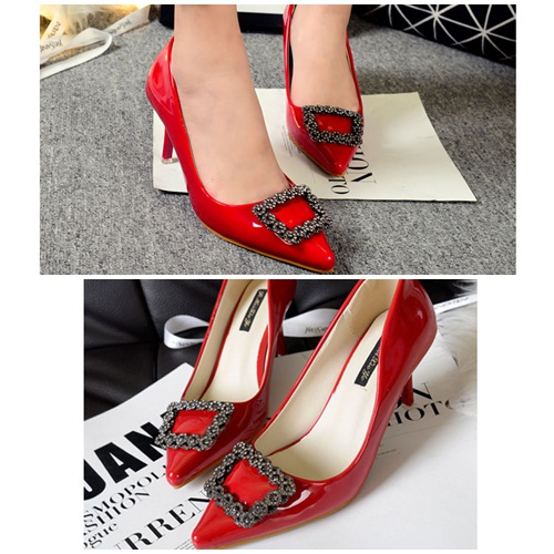 SH52860 IDR.214.000 MATERIAL PU-HEEL-7CM COLOR RED SIZE 35,36,37,38,39