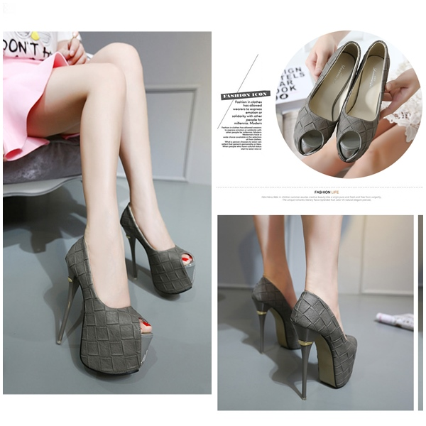 SH65121 IDR.244.000 MATERIAL PU HEEL 16CM COLOR GRAY SIZE 36,37,38,39