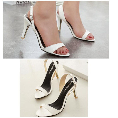 SH7253 IDR.201.000 MATERIAL PU HEEL 8CM COLOR WHITE SIZE 35,36,37,38,39