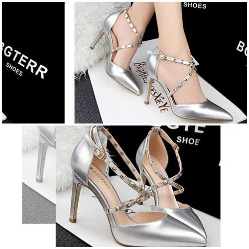 SH8038 IDR.225.000 MATERIAL PU-HEEL-9.5CM COLOR SILVER SIZE 35,36,37,38,39