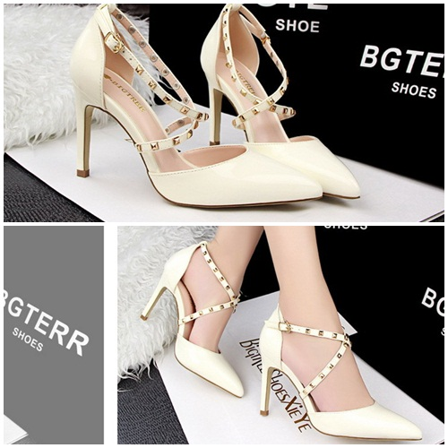 SH8038 IDR.225.000 MATERIAL PU-HEEL-9.5CM COLOR WHITE SIZE 35,36,37,38,39