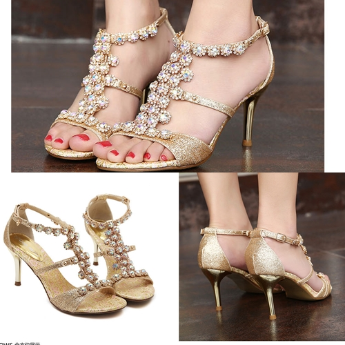 SH8252 IDR.259.000 MATERIAL PU HEEL 8CM COLOR GOLD SIZE 35,36,37,38,39