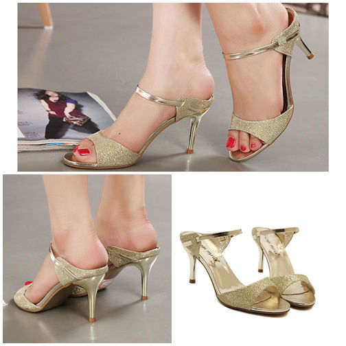 SH8256 IDR.199.000 MATERIAL PU HEEL 7CM COLOR GOLD SIZE 35,36,37,38,39