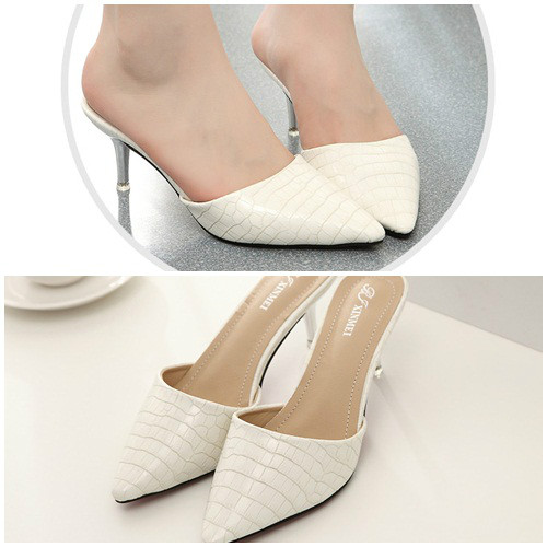 SH8341 IDR.225.000 MATERIAL PU HEEL 7CM COLOR WHITE SIZE 36,37,38,39