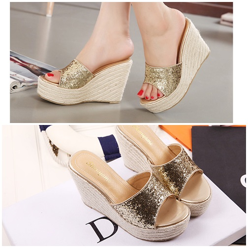 SH8558 IDR.208.000 MATERIAL SEQUIN-HEEL-11CM COLOR GOLD SIZE 35,36,37,38,39
