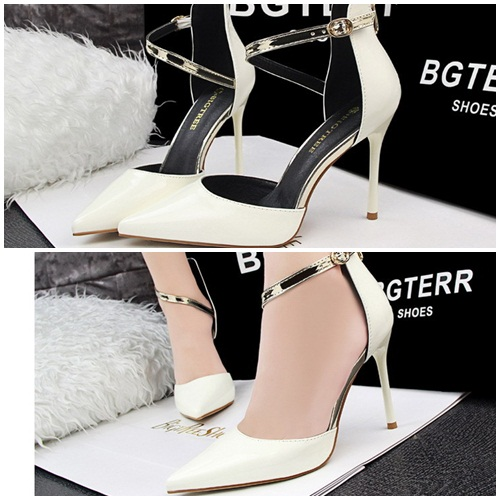 SH89133 IDR.225.000 MATERIAL PU-HEEL-10CM COLOR WHITE SIZE 36,37,38,39