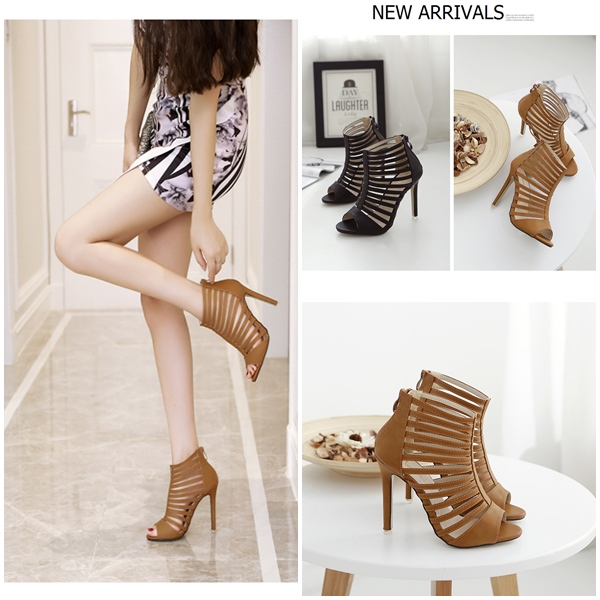 SH901 IDR.236.000 MATERIAL PU HEEL 11CM COLOR BROWN SIZE 35,36,37,38,39