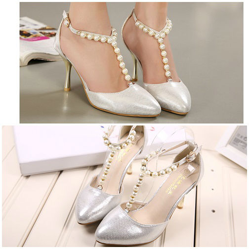 SH9055 IDR.225.000 MATERIAL PU HEEL 8.5CM COLOR SILVER SIZE 35,36,37,39