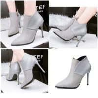 SHB9068  MATERIAL PU HEEL 10CM COLOR GRAY SIZE 35