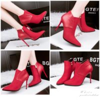 SHB9068  MATERIAL PU HEEL 10CM COLOR RED SIZE 35