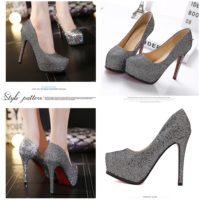 SHH10162 MATERIAL PU HEEL 12.5CM COLOR GRAY SIZE 35