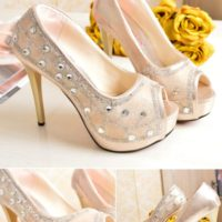 SHH1226  MATERIAL PU HEEL 12CM COLOR GOLD SIZE 35