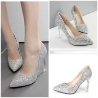 SHH2225  MATERIAL PU HEEL 10CM COLOR SILVER SIZE 35