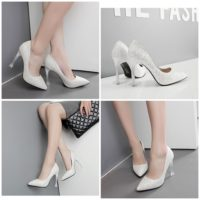 SHH2225  MATERIAL PU HEEL 10CM COLOR WHITE SIZE 35